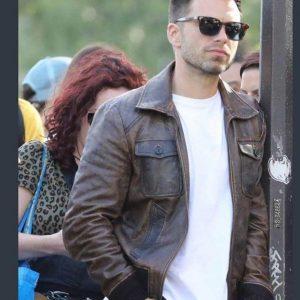 The 355 Sebastian Stan Bomber Leather Jacket