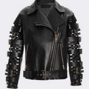 Straps and Buckles Zendaya Coleman Black Motorcycle Leather Jacket