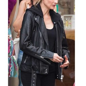 Mace The 355 Jessica Chastain Black Motorcycle Leather Jacket