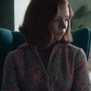 Beth Harmon The Queen's Gambit Anya Taylor-Joy Quilted Cotton Coat