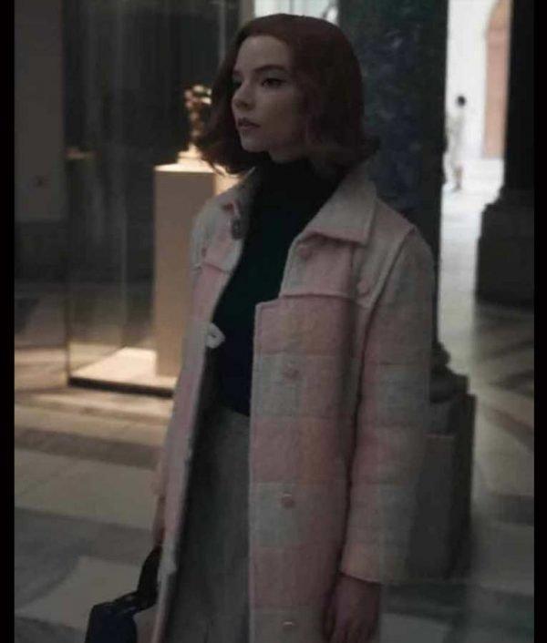 Anya Taylor-Joy The Queen's Pink Coat