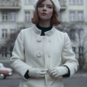 Beth Harmon The Queen's Gambit Anya Taylor Joy Trench White Coat