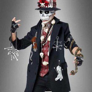 Voodoo Priest Mid-Length Black Spooky Coat