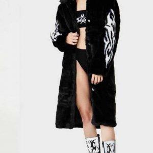 Fallen Angel Faux Fur Black Trench Coat For Women's