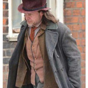 Guy Pearce A Christmas Carol Ebenezer Scrooge Grey Wool-blend Coat