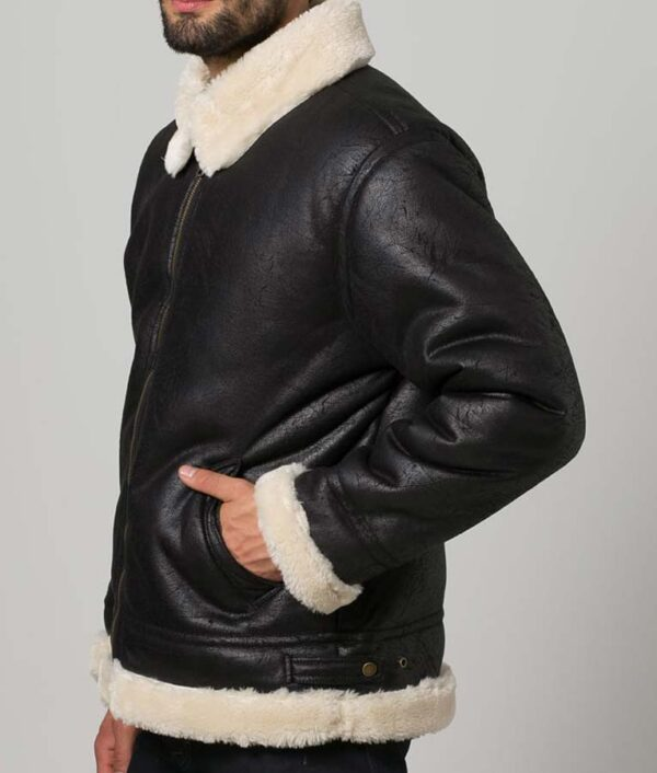 Mens Black Aviator Faux Shearling Leather Jacket
