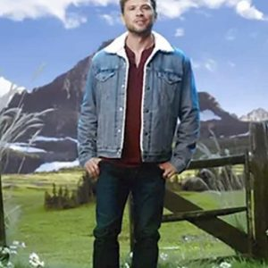 Ryan Phillippe Big Sky Denim Cody Hoyt Jacket with Shearling Collar