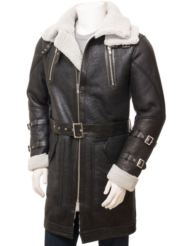 Mens Black Sheepskin Leather Trench Coat