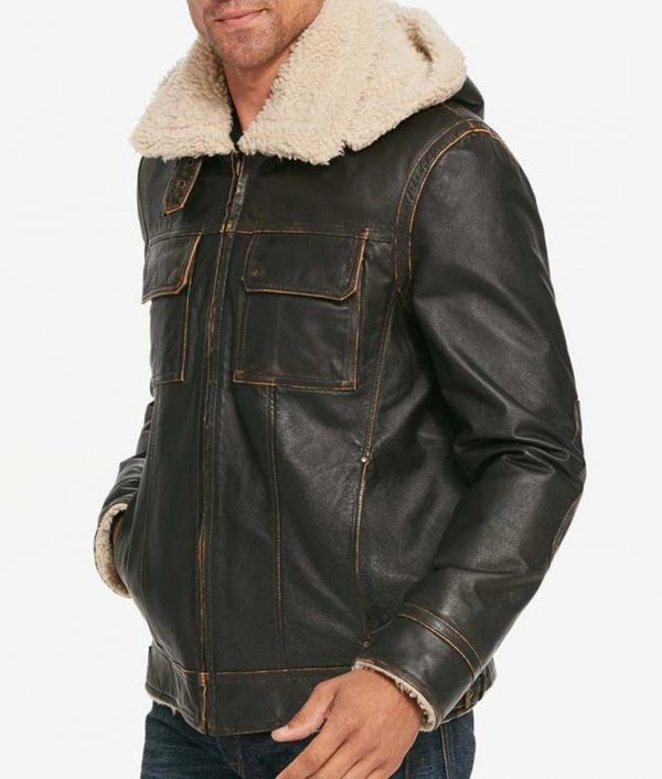 Mens Brown Waxed Hooded Aviator Shearling Leather Jacket