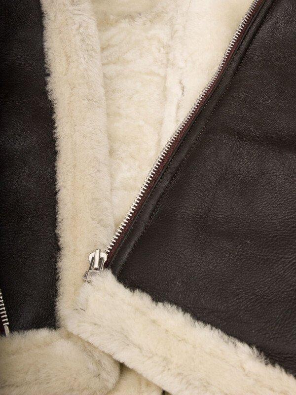 Men's Brown Shearling Biker Leather Jacket