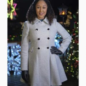Tamera Mowry-Housley Christmas Comes Twice Double-Breasted Dress Coat