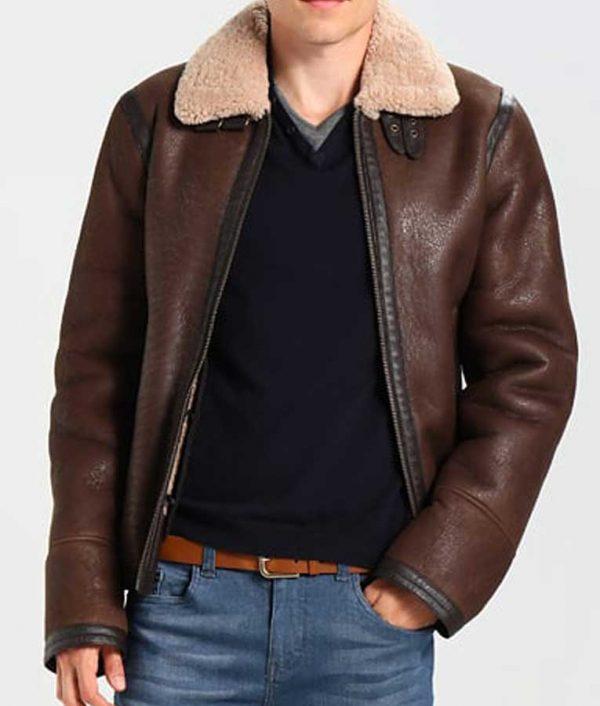 Aviator Style Mens Dark Brown Shearling Jacket