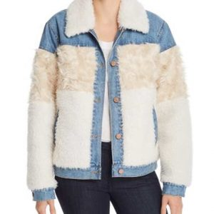 Keana Marie Dash and Lily Sofia Faux Fur Denim Jacket