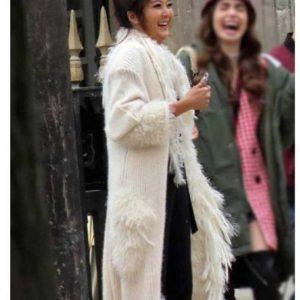 Ashley Park Emily In Paris Mindy Chen White Faux Fur Coat