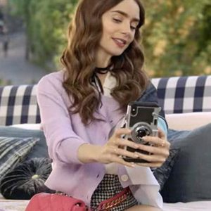 Lily Collins Emily In Paris Emily Copper Colorblock Cardigan