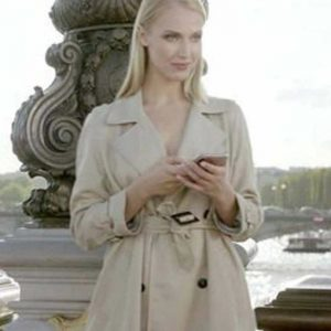 Camille Emily in Paris Camille Razat Cream Trench Cotton Coat