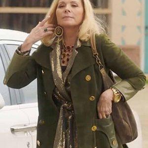 Margaret Monreaux Filthy Rich Kim Cattrall Green Suede Coat