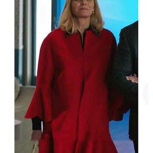 Filthy Rich Kim Cattrall Red Wool-Blend Margaret Monreaux Coat