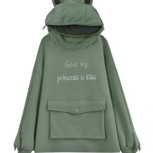 Give My Princess a Kiss Embroidery Green Frog Hoodie