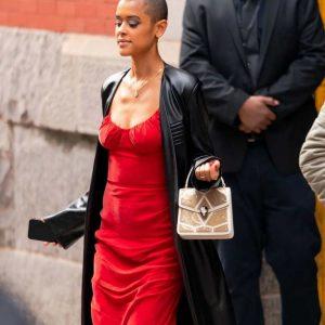 Gossip Girl 2021 Jordan Alexander Black Leather Trench Coat