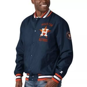 Men's Starter The Jett III Full-Snap Houston Astros Bomber Jacket