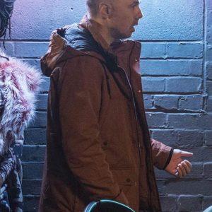 Karl Pilkington Sick Of It Brown Cotton Hooded Jacket