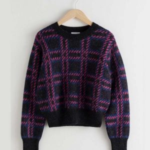 Emily Copper Emily in Paris Lily Collins Checked Wool Sweater