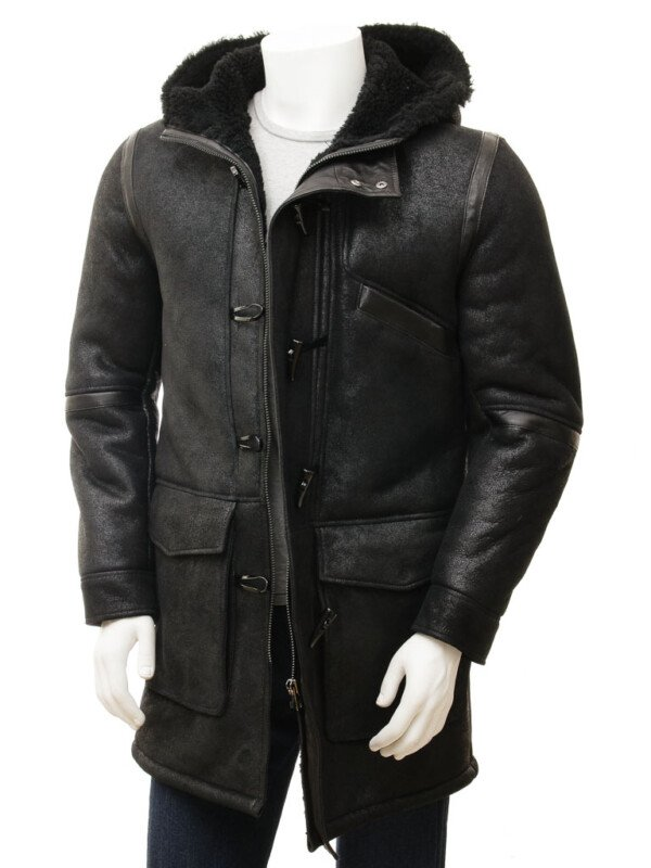 Men's Black Sheepskin Leather Duffle Coat with Hood