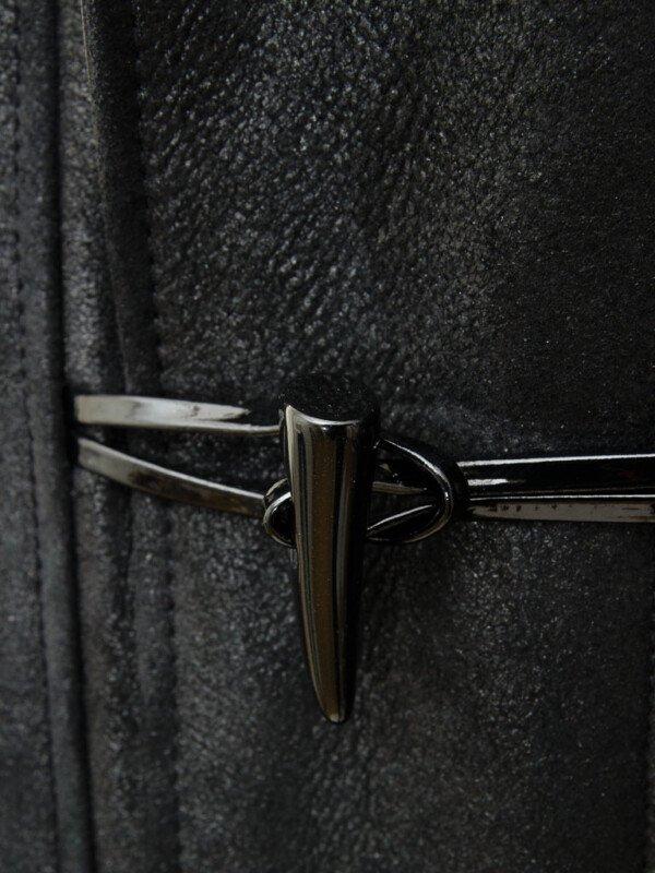 Black Sheepskin Leather Duffle Hooded Coat For Mens