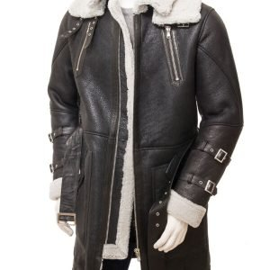 Black Genuine Sheepskin Leather Trench Coat for Mens