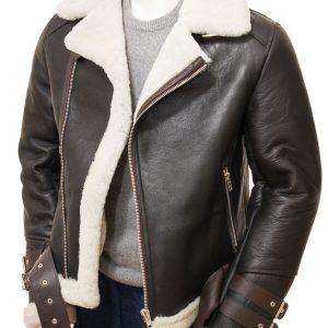 Brown Shearling Biker Leather Jacket for Men's