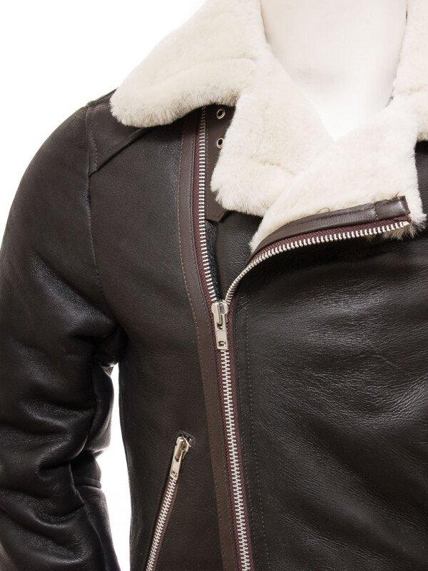 Men's Brown Shearling Motor Bike Jacket