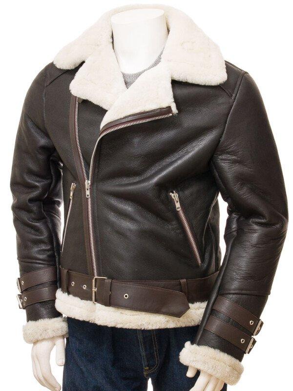 Shearling Biker Leather Jacket for Men's