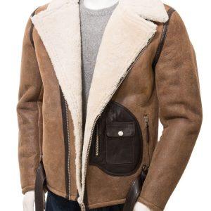 Men's Distressed Brown Sheepskin Leather Jacket