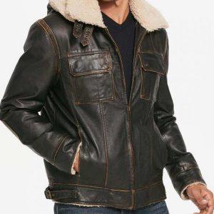 Brown Mens Waxed Hooded Aviator Shearling Jacket