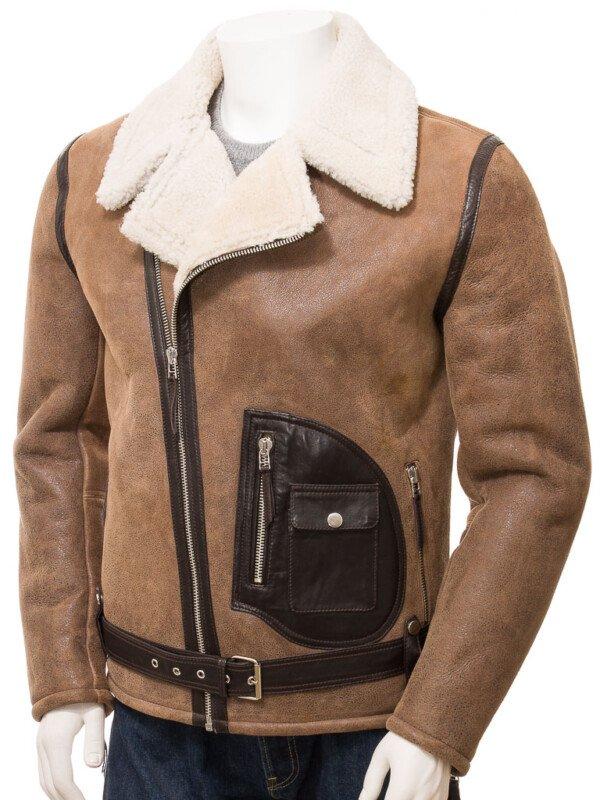 Men's Brown Sheepskin Jacket Infinity Men's Brown Biker Jacket