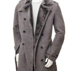 Men's Grey Shearling Jacket
