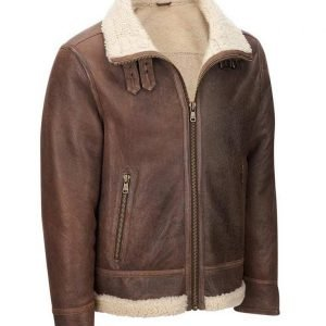 Mens Light Brown Faux Shearling Aviator Leather Jacket