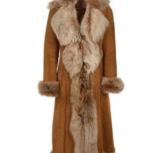 Women's Novah Brown Suede Leather Fur Long Coat