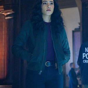 Aurora Perrineau Prodigal Son Dani Powell Black Bomber Leather Jacket