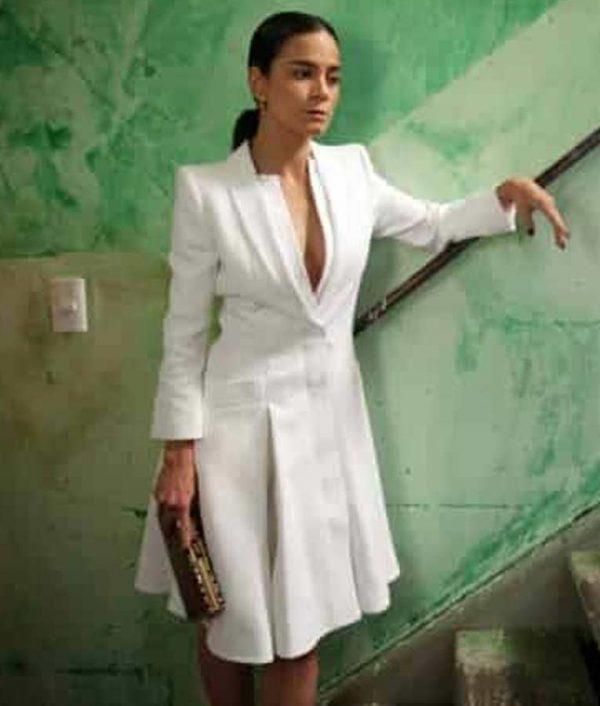 Alice Braga Queen of The South Teresa Mendoza White Coat Dress