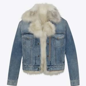 Real Housewives of Salt Lake City Lisa Barlow Fur Trim Denim Jacket