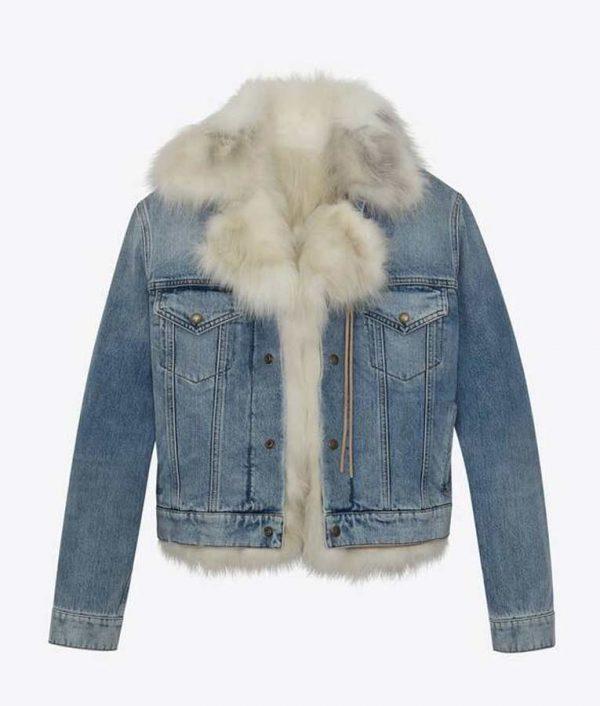 Real Housewives of Salt Lake City Lisa Barlow Fur Trim Denim Jacket