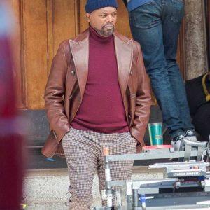 John Shaft 2019 Samuel L. Jackson Brown Leather Blazer