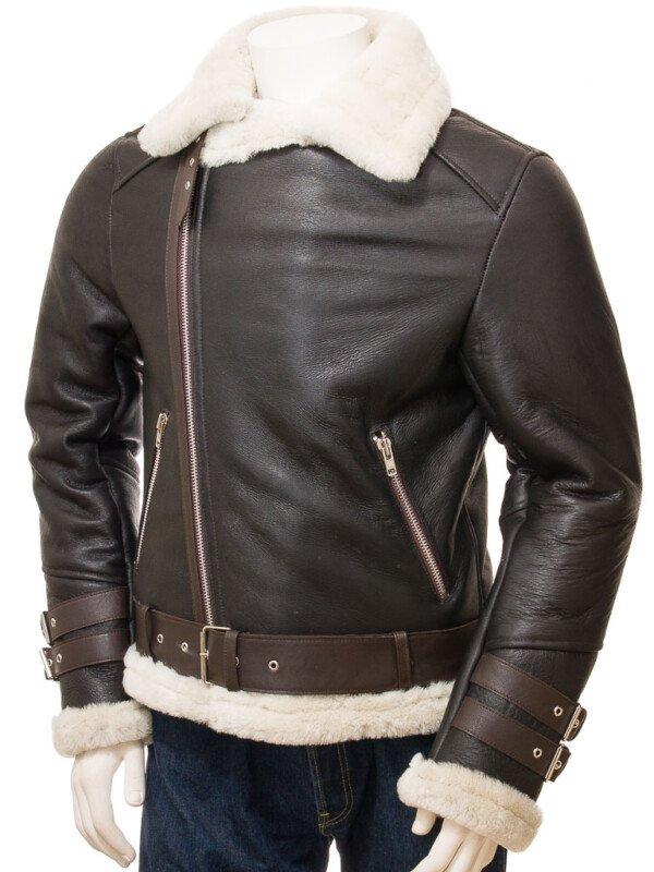 Shearling Biker Brown Leather Jacket