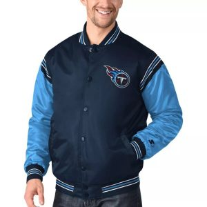 Satin Varsity NFL Tennessee Titans Blue Bomber Jacket