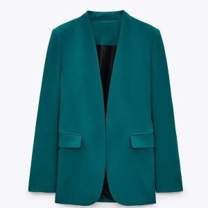 Kristin Fisher TV Show The Daily Briefing Teal Open Cotton Blazer