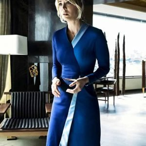 Cassie Bowden The Flight Attendant Kaley Cuoco Blue Wrap Dress