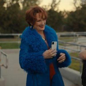 Dee Dee Allen The Prom Meryl Streep Blue Fur Trench Coat