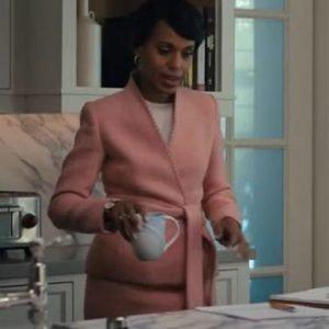 Kerry Washington Pink Cotton The Prom Mrs. Greene Coat